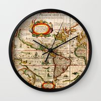vintage map Wall Clocks featuring Vintage Map by Diego Tirigall