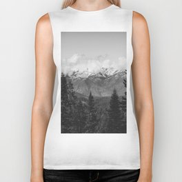 Snow Capped Sierras - Black and White Nature Photography Biker Tank