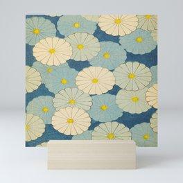 Shin-Bijutsukai – Japanese Design Blue Floral Pattern Mini Art Print