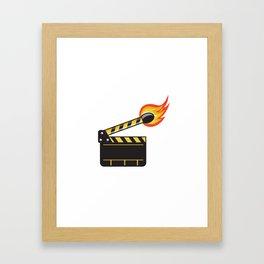 Clapper Board Match Stick On Fire Retro Framed Art Print