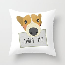 Adopt A Shelter Dog Puppy Face Holding Adopt Me Sign Art Throw Pillow