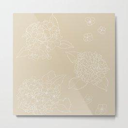 Hydrangeas Beige v. Metal Print