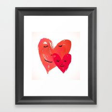 Watercolor couple of hearts Framed Art Print