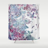 boston map Shower Curtains featuring Boston map by MapMapMaps.Watercolors