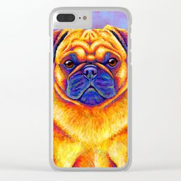 Colorful Rainbow Pug Portrait Clear iPhone Case
