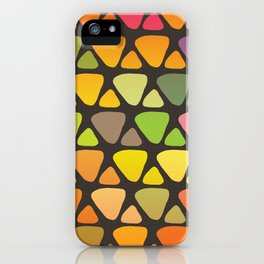 Bright colorful abstract triangles retro pattern iPhone Case