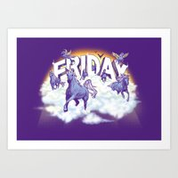 friday Art Prints featuring Friday! by littleclyde