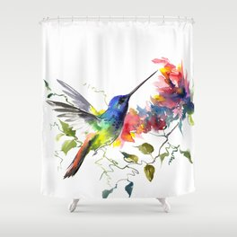 Hummingbird, tropical Foliage, Hawaiian design, tropical, colors Shower Curtain