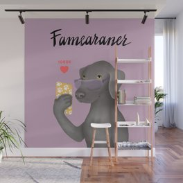 Famearaner (Pink Background) Wall Mural