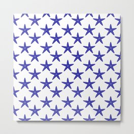 Starfishes (Navy Blue & White Pattern) Metal Print