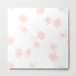 Seamless pattern of beautiful poppy flowers on a white background  Metal Print