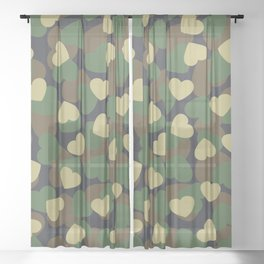 Heart Camo WOODLAND Sheer Curtain