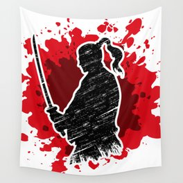 Samurai red Wall Tapestry