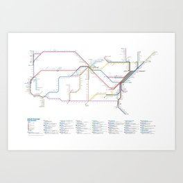 Amtrak as Subway Map 2016 - Sunset Limited Version Art Print