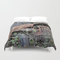 jeep Duvet Covers featuring Vintage Jeep by Victoria Rushie