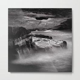 Sea and rocks, Sarakiniko, Milos island Greece, black and white square Metal Print