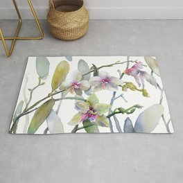 White and Pink Magnolias, Goldfish hiding, Surreal Rug