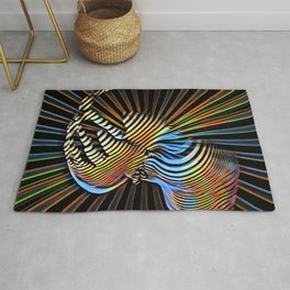 7683s-KMA Abstract Nude Woman Hand on Cheek Radiating Power Composition Style Rug