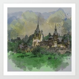 Peles Castle Romania Watercolor Art Print