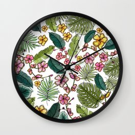 Botanical joy on white Wall Clock