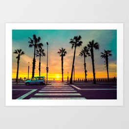 Barcelona Bright Yellow Sunrise Art Print