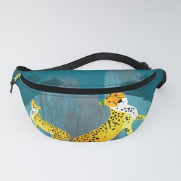 Panther Jungle Hideout Teal Fanny Pack