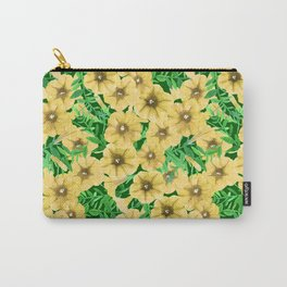 Yellow watercolor petunia flower pattern Carry-All Pouch