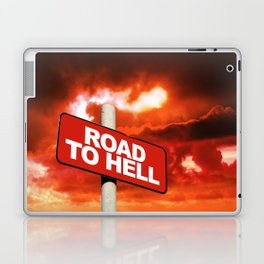 Road to hell sign Laptop & iPad Skin