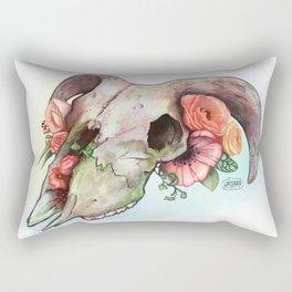 Goat skull & flowers Rectangular Pillow