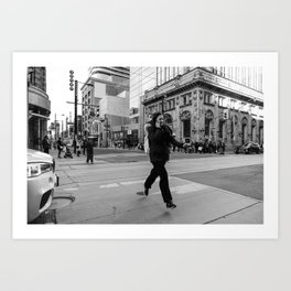 Flying woman in Toronto city streets in black and white Art Print