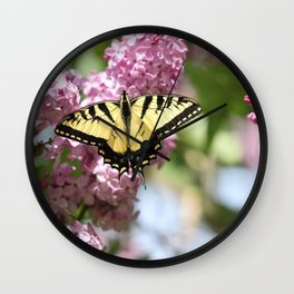 Swallowtail butterfly On Lilacs Wall Clock