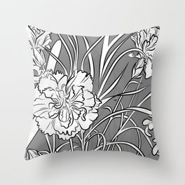 Carnation Creation Black and White Throw Pillow