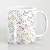 bicycles Mugs featuring Rainbow Bicycles by Nicole Alesi