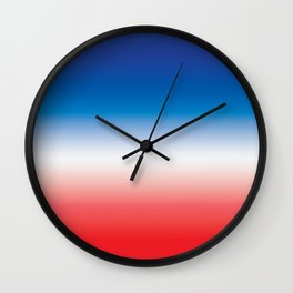 Red White and Blue Ombre Gradient Wall Clock
