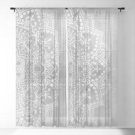 Grey Mandala Sheer Curtain