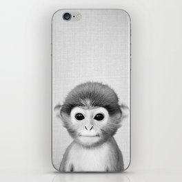Baby Monkey - Black & White iPhone Skin