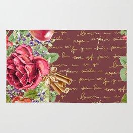 Elegant Christmas - burgundy rose Rug