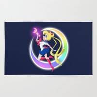 sailor moon Area & Throw Rugs featuring Sailor Moon by The Art of Eileen Marie