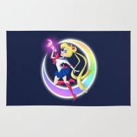 sailor moon Area & Throw Rugs featuring Sailor Moon by Eileen Marie Art