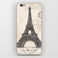 eiffel tower iPhone & iPod Skins featuring Eiffel Tower by Debbie DeWitt
