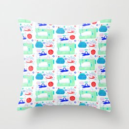 Sewing Machine & Crafting Supplies Throw Pillow