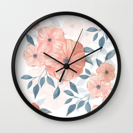 Seamless watercolor floral illustration. Wall Clock