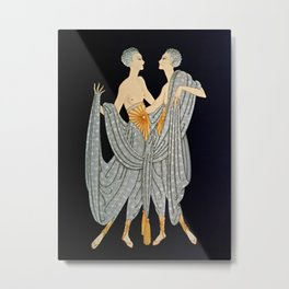 "Art Deco Illustration ""Twins"" by Erté Metal Print"