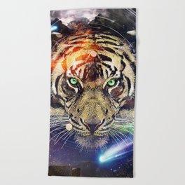 Space Tiger Beach Towel