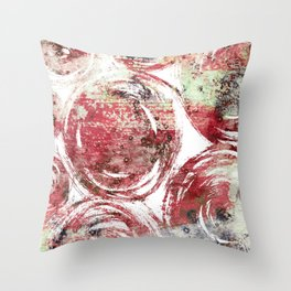 Rust : Red, maroon, brown, and yellow-green abstract ink painting Throw Pillow