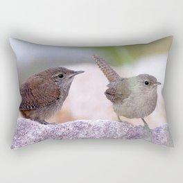 Watercolor Bird, House Wren 01, Estes Park, Colorado, Backyard Momma and Baby Rectangular Pillow