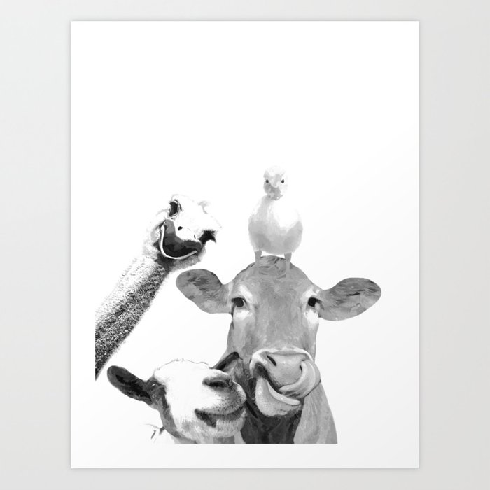 Black and White Farm Animal Friends Art Print