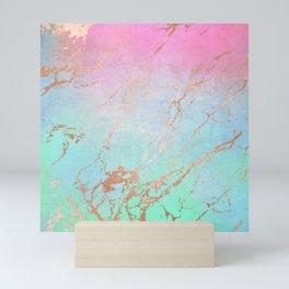 Rainbow Glamour Marble Texture Mini Art Print