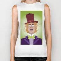 willy wonka Biker Tanks featuring Willy Wonka from Charlie and the chocolate factory, played by the great Gene Wilder by Joe Pugilist Design