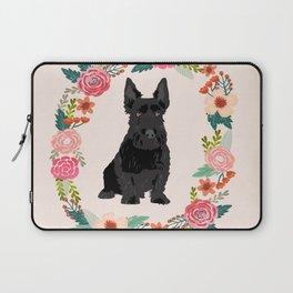 scottie dog breed floral wreath pet portrait dog gifts Laptop Sleeve